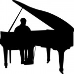 The picture is a silouette of an adult male seated and playing a grand piano.