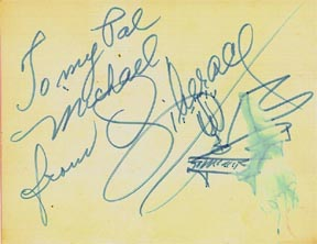 This is a picture of autograph from Liberace to Michael, from 1978.